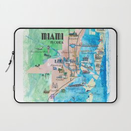 Miami Florida Fine Art Print Retro Vintage Map with Touristic Highlights Laptop Sleeve