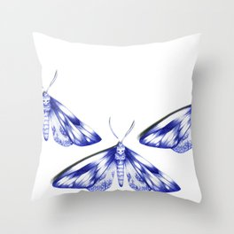 blue moths Throw Pillow