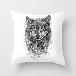Scribble Wolf Throw Pillow