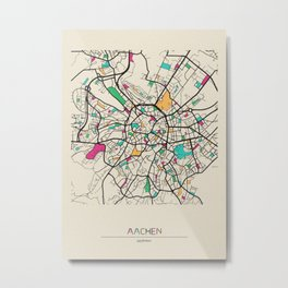 Colorful City Maps: Aachen, Germany Metal Print