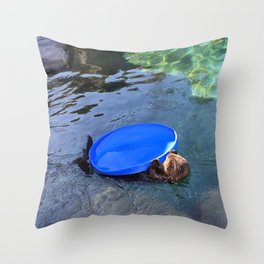 Playing Sea Otter  Throw Pillow