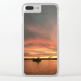 The Tugboat - Sunsets at The Fly series Clear iPhone Case