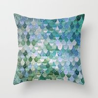 hello Throw Pillows featuring REALLY MERMAID by Monika Strigel