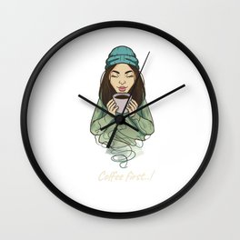 Hot Breakfast Coffee Lover Morning Hater Caffeine Junkie Fan Design Wall Clock