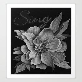 Sing - Tones of Grey Art Print