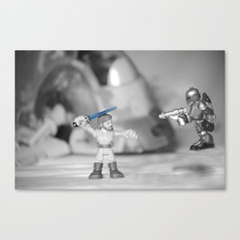Obi-wan Kenobi & Jango Fett with the Slave 1 Canvas Print