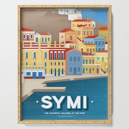 Symi, Colorful facades at the port (GR) Serving Tray