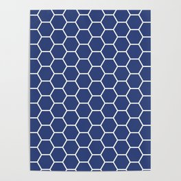 Blue honeycomb geometric pattern Poster