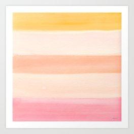 Peach Watercolor Sunrise Art Print