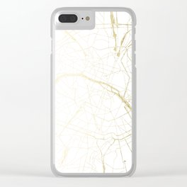 Paris Gold and White Street Map II Clear iPhone Case