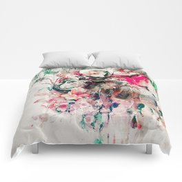 Watercolor Elephant and Flowers Comforters