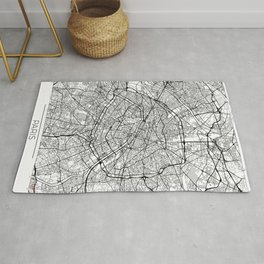 Paris Map White Rug