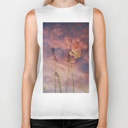 Butterfly and Blush Pink and Indigo Blue Sunset Biker Tank