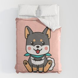 Black Shiba Inu Kawaii Japanese Dog Comforters