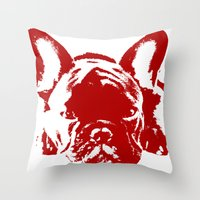 frenchie Throw Pillows featuring Frenchie by Red Eyes Apparel