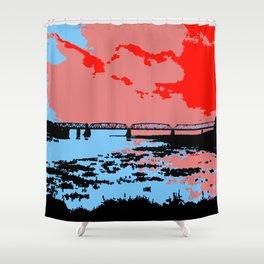 Railway bridge Haparanda/Tornio color Shower Curtain