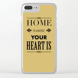 Home is Where - Typography brown Clear iPhone Case