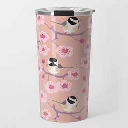 Cherry Blossom Chickadees Travel Mug