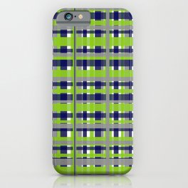 Retro Modern Plaid Pattern in Lime Green, Bright Navy Blue, Gray, and White iPhone Case
