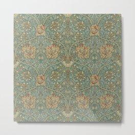 William Morris Vintage Honeysuckle & Tulip Green Privet Honeycomb Floral Metal Print