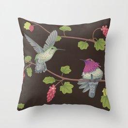 Anna's Hummingbirds Throw Pillow