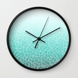Ombre turquoise blue and white swirls doodles Wall Clock