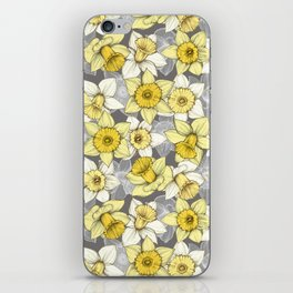 Daffodil Daze - yellow & grey daffodil illustration pattern iPhone Skin