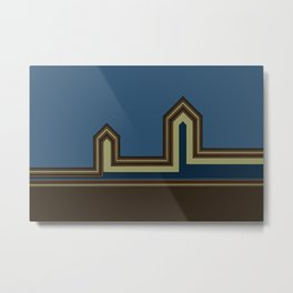 Line Houses - Color Metal Print