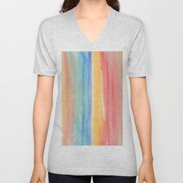 Colorful hand painted watercolor brushstrokes Unisex V-Neck
