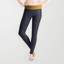 Speckles I: Dark Gold on Blue Vortex Leggings