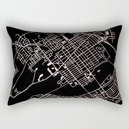 Wilkes-Barre Rose Gold and White Map Rectangular Pillow