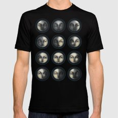 moon phases and textured darkness MEDIUM Black Mens Fitted Tee