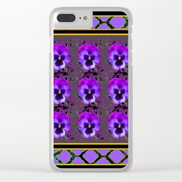 GARDEN OF PURPLE PANSY FLOWERS BLACK & TEAL PATTERNS Clear iPhone Case