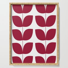 Mid Century Modern Leaves Red #society6 #buyart Serving Tray