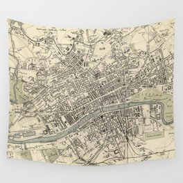 Vintage Map of Glasgow Scotland (1872) Wall Tapestry