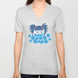 Geek Girl With Heart Shaped Eyes And Blue Flowers Unisex V-Neck