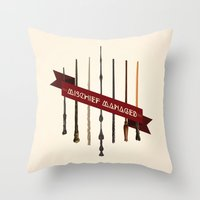 marauders Throw Pillows featuring Mischief Managed by Dorothy Leigh