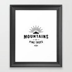 Mountains & Pine trees Framed Art Print