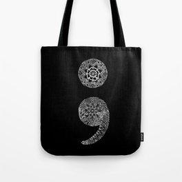 Patterned Semicolon: White on Black Tote Bag