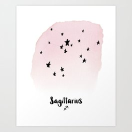 Sagittarius Star sign, Constellation, Astrology, Horoscope, Zodiac Pink Watercolor Art Print