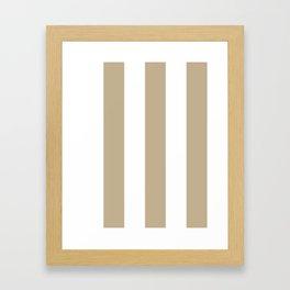 Wide Vertical Stripes - White and Khaki Brown Framed Art Print