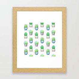 Succulent and Cactus Garden Pots Pattern Framed Art Print
