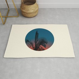 Pink & Blue Sunset With Palm Tree Silhouette Rug