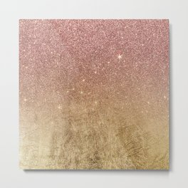 Pink Rose Gold Glitter and Gold Foil Mesh Metal Print