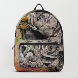 Of Suffering (dark lady portrait with roses) Backpack