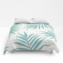 Delicate Green Tropical Leaves Pattern Comforters