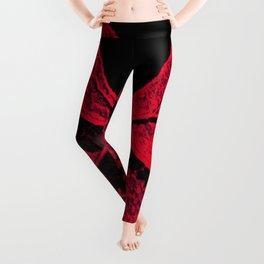 red veined leaf Leggings