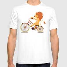 Lion on the bike Mens Fitted Tee MEDIUM White