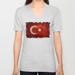 Flag of Turkey, Vintage distressed patina Unisex V-Neck