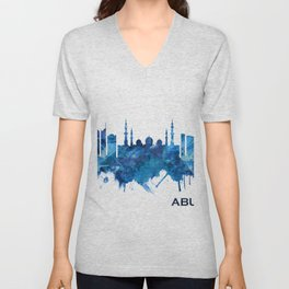 Abu Dhabi UAE Skyline Blue Unisex V-Neck